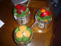 THREE RETRO PLASTIC JAM POTS Oranges, Cherries, Strawberries with Spoons Collectable NORTHAMPTON