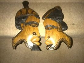 2 Wooden Figures / wall plaques