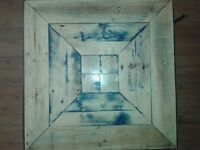crafted square coffee table metal and timber (pallet)