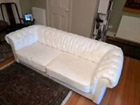 White faux-leather Chesterfield sofa two seater 2 seats