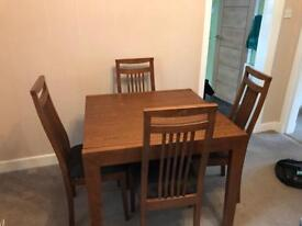 Mahogany extendable dining table and 4 chairs