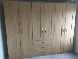 Oak Double Wardrobe With 3 Drawers