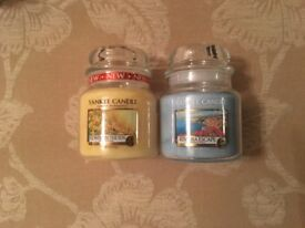 Yankee Candle Bundle Set Job Lot - 2x Medium Jars Flowers in the Sun & Riviera Escape Yellow Blue