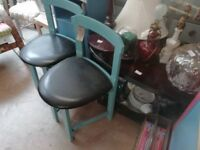 Pair of children's chairs, wooden, painted in blue with black leather top v good condition