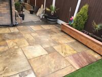Indian Sandstone Paving approx 9m2 plus offcuts