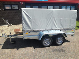 NEW Twin axle trailer camping trailer 8,6ft x 4,4ft with canvas cover H-1,25m