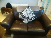 Brown leather sofa ,two 2 seaters