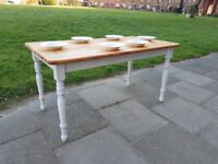 Rustic farmhouse kitchen/dining table. White distressed shabby chic. LOCAL DELIVERY