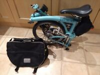 Brompton folding city bike for sale, light blue colour, top spec.