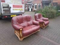 2+1 oxblood sofa siting in oak frame