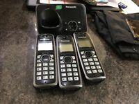 3 Panasonic cordless phones and base unit answering machine