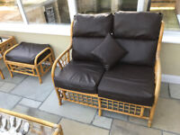 Full Cane Furniture Set with Brown Faux Leather Cushions