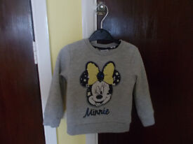 GREY MINNIE MOUSE JUMPER 18-24 MONTHS
