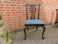 MAHOGANY CHIPPENDALE STYLE CHAIR WITH DROP IN SEAT