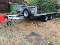 FLAT BED TRAILER 10.5ft X 5.5ft INCLUDING RAMPS - Car, Plant Transporter / GREAT CONDITION!