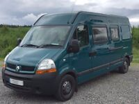 Devon Monaco 3 berth campervan with 3 belted seats and fixed rear bed with large storage below
