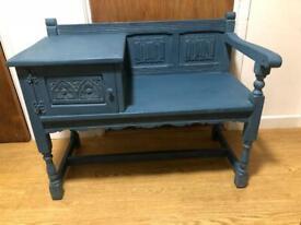 Vintage Old Charm Oak Telephone Table