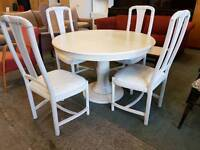 Painted limed oak round table and 4 chairs