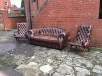 ANTIQUE BROWN LEATHER CHESTERFIELD SUITE 3 PIECE CLASSIC HAND MADE CHESTERFIELD CAN DELIVER