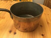 Vintage large E.C.M copper pan tin lined with strong handle