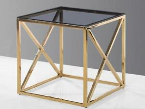 Golden End Table with Glass Top (KA219)