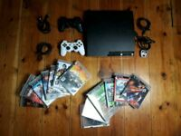 PS3 slim+2 Original Dualshock3 Sixaxis Controllers+13 Games Bundle
