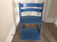 Blue Stoke Tripp Trapp Chair/High Chair in excellent condition