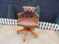 ''THE CAPTAIN'S CHAIR'' CHESTERFIELD LEATHER CHAIR TRADITIONAL ANTIQUE BROWN MAHOGANY WOOD