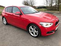 BMW 1 SERIES 2.0 118D SPORT 5d 141 BHP FULL HEATED BLACK LEATHER INTERIOR (red) 2014