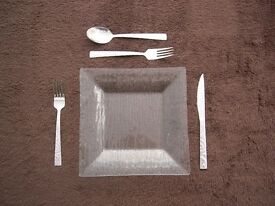 dinner service, 6 place square glass