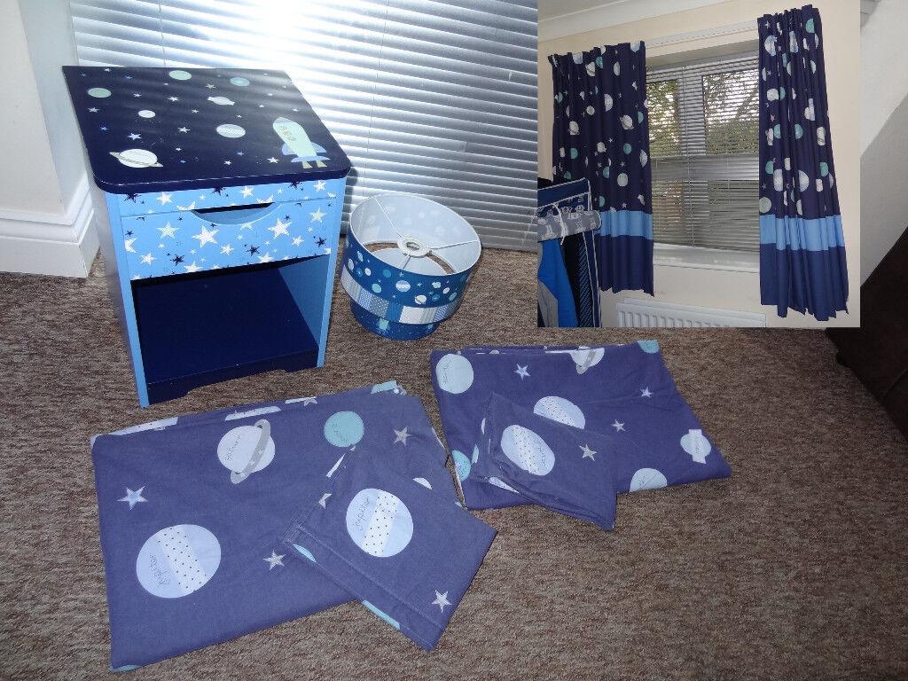 Children Bedroom Curtains, 2 Single Duvet Covers/Pillow Cases, Bedside Locker & Ceiling Lamp Shade