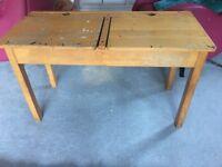 Solid pine vintage double school desk with ink wells
