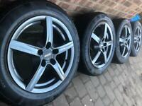 """As New 16"""" Vauxhall Astra alloy wheels +Continental winter tyres 5x110 Saab 9-3 Ford Focus CAN POST"""