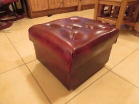 Chesterfield Style Buttoned Stool (Ox-Blood)