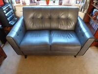 2/3 seater grey leather sofa