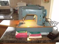 1960's vintage Singer 285K Sewing machine with hard cover, foot pedal, instructions and attchments