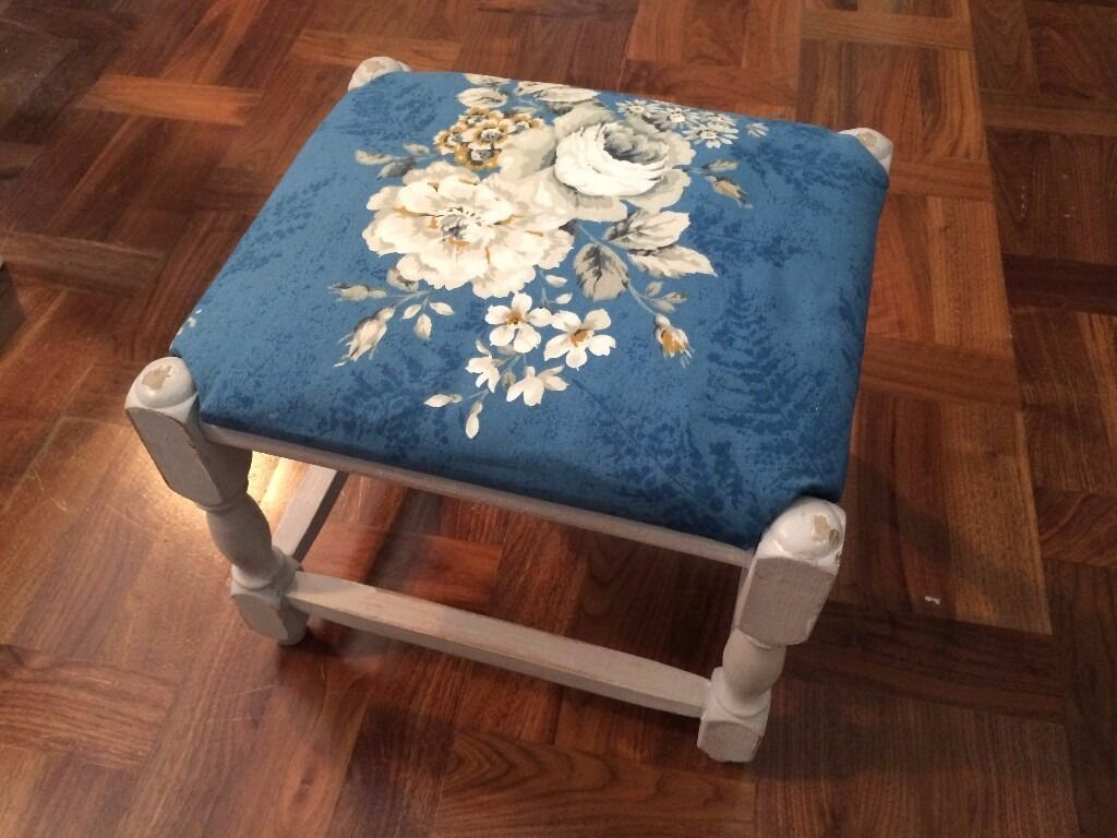 Shabby chic footstool / stool with vintage blue floral fabric top ...