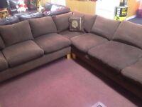 Large Brown Fabric Corner Suite