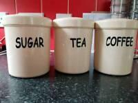 Plastic tea, coffee and sugar contaners