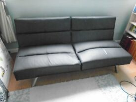 Sofa Bed - Black Faux Leather