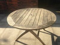 Teak Garden Table Seats 4-6. Very Well Made John Lewis Round Solid Teak Wood Garden or Patio Table