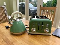 Morphy Richards green kettle and toaster