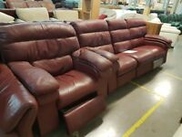 PRE OWNED Manual Reclining 3 Seater Sofa + Manual Reclining Chair in Maroon Leather