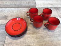 Thomas flammfest red and black coffee cups and saucers set