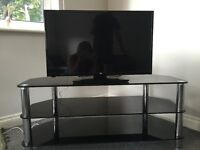 Large 50inch 3 tier black glass and chrome TV stand