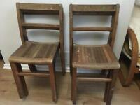 6 old vintage wooden school chairs