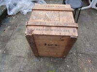 "VINTAGE PACKING CRATE RUSTIC INDUSTRIAL COFFEE TABLE. 27"" X 25"" X 21"". LOTS OF CHARACTER."