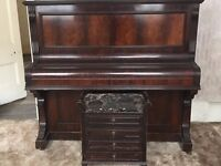 USED VICTORIAN UPRIGHT PIANO BY CARL STRAUSS, BERLIN & 1910 ANTIQUE PIANO STOOL