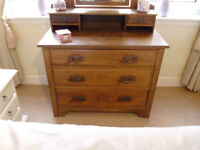 Antique Stripped Pine Dressing Table with 3 Drawers and Mirror