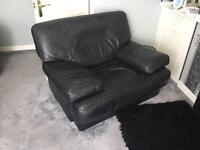 Leather armchair and 2 seater sofa